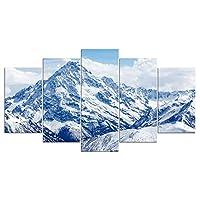 YIYYI キャンバスペインティング5, Hdプリント5ピース絵画キャンバスアート雪山壁画リビングルーム風景壁画