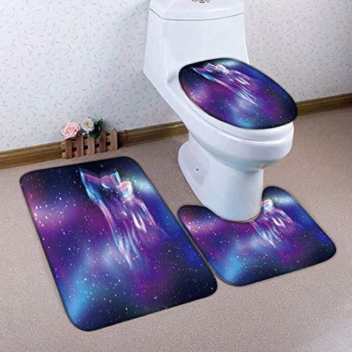 HNFY Alfombra baño Lobo Estrellado Morado 3D Impreso 3 Piezas Alfombrillas para Baño Antideslizantes Franela alfombras Lavables Alfombrilla de baño para Inodoro Decoraciones