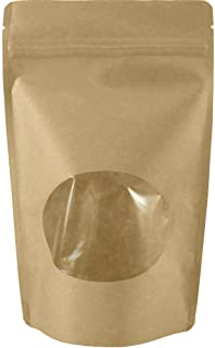 USPak Natural Kraft Stand up Pouches with Window and Zip Lock Food Storage Bag, Pack of 25 (Small - 4 oz)