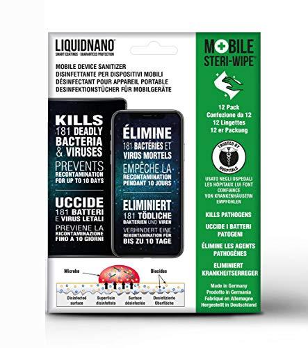 LiquidNano MOBILE STERI-WIPE, Desinfektionstücher für Handy & Touchscreen, desinfiziert für bis zu 10 Tage, beseitigt  99,9% der Krankheitserreger wie Bakterien, Viren & Pilze, 12er Pack
