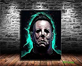 Michael Myers,Halloween Wall Art Home Wall Decorations For Bedroom Living Room Oil Paintings Canvas Prints-1063 (Framed,16x20inch)