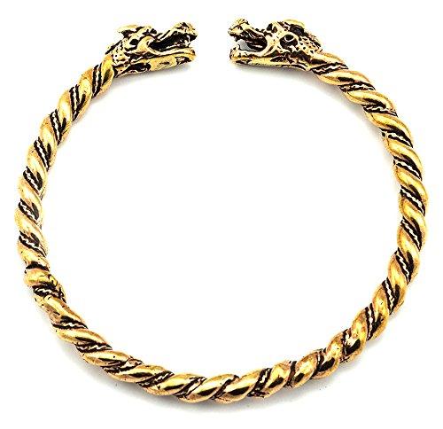 Armreif Wikinger-Drachen aus Bronze Fantasy Armkette Bronzearmband Gothic Halsband LARP Kette Wikinger
