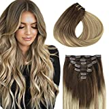 Clip in Hair Extensions, hotbanana Walnut Brown to Ash Brown and Bleach Blonde Clip in Hair Extensions Real Human Hair Straight Remy Hair Clip in Hair Extensions 20 inch 120g 7pcs