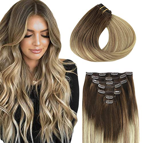 Remy Hair Extensions Clip in, hotbanana Ombre Walnut Brown to Ash Brown and Bleach Blonde Clip in Human Hair Extensions Natural Real Hair Extensions Balayage Clip Hair Extensions 18 Inch 120g 7pcs