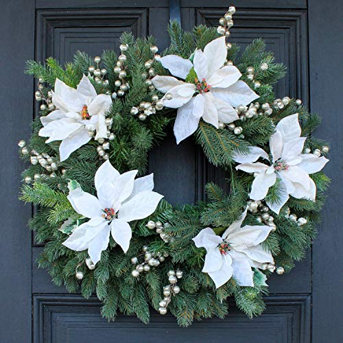 Darby Creek Trading White Snowy Poinsettia, Colorado Spruce & Champagne Glitter Berry Pre Lit LED Plug in Front Door Christmas Wreath