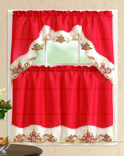 All American Collection New 3pc Christmas Holiday Design Embroidered Kitchen Curtain Set (Christmas Tree with Candles, Red/Beige)
