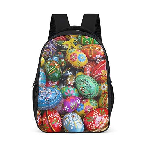 Fineiwillgo Mochila con diseño de huevos de Pascua, resistente, para adolescentes, color gris brillante, talla única