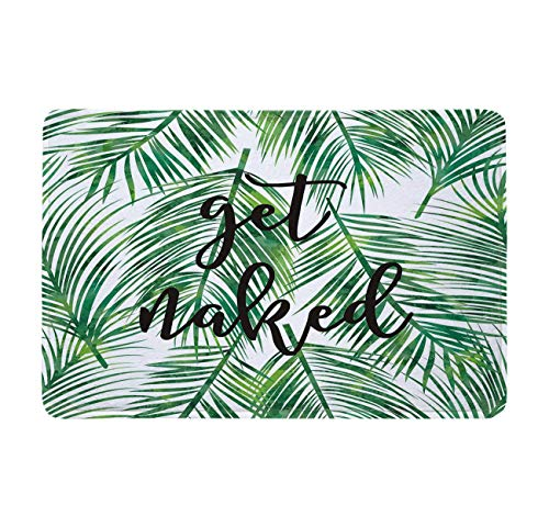 LB Green Tropical Coconut Leaf Bathroom Mat Black Font Get Naked Bathroom Rugs Funny Bath Mat Home Decor,Soft Memory Foam Non-Slip Absorbent 16x24 inch