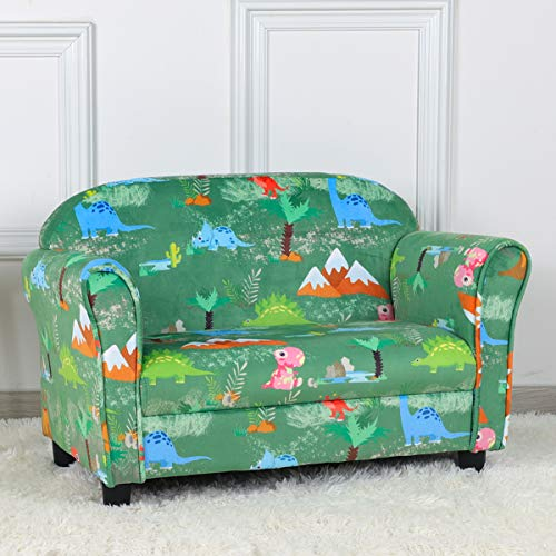 PWTJ Kid Sofa Chair,2-Seater Upholstered Kid Couch with Dinosaur Pattern Velvet Fabric for Children Gift