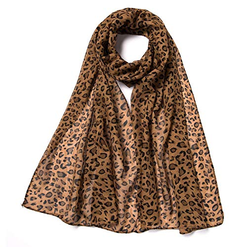 Silky Fashion Brown Leopard Print Soft Scarf Shawl Wrap - Cover Up During the Corona Virus - COVID-19 - Not equivalent to a N95 Face Mask