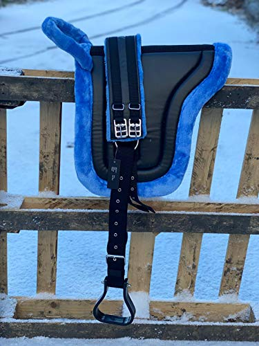 Equipride Bareback - Silla de montar para caballo con estribos (cob), color azul