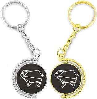 Doe-het-zelf combinatie van Origami varken, geometrische vorm, ring van metaal, goudkleurig, sleutelhanger