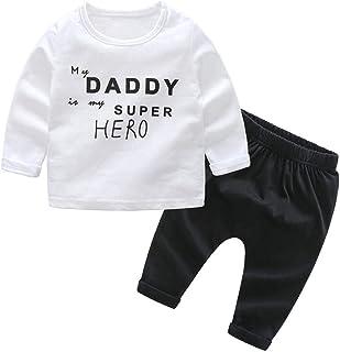 Domybest ベビー服 パジャマ 上下セット 2点入り 肌着 トップス+ロングパンツ 男の子 赤ちゃん 部屋着 春 秋 冬 セットアップ 幼児 キッズ 普段着 ボーダー柄 柔らかい