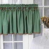 GSKB Cucina Tenda Corta Verde Mezza Tenda Cotone Lino Tenda da caffè Stile Country Americano Tenda Piccola con Pizzo per Bagno Lavanderia Cucina Caffetteria