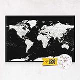 Planisfero da Parete – Mappa del mondo - Quadro su tela incorniciato con 100 puntine incluse – Cartina geografica mondo in Moderno Bianco Nero - 100x70 / 120x80 / 150x100 cm dimensioni