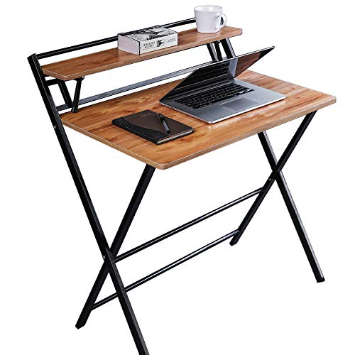 JIWU 2-Style Folding Desk for Small Space, No Assembly Required, Home Corner Desks Simple Computer Desk with Shelf, Foldable Laptop Table