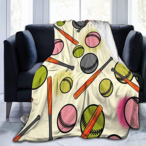 AEMAPE Manta Colorida de Microfibra de béisbol para Todas Las Estaciones, Manta cálida para Sala de Estar/Dormitorio/sofá sofá