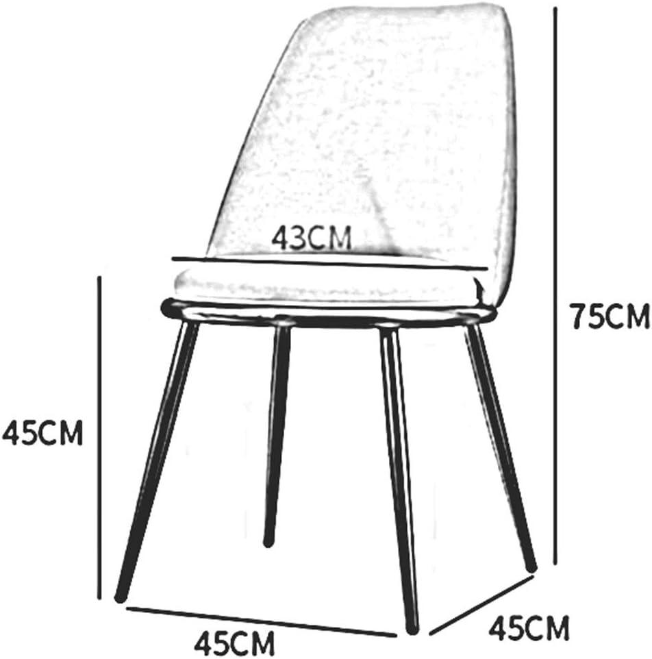 DALL Chaises De Salle à Manger Nordiques,Coussin PU,Chaise De Table De Jambes en Métal,Chaise De Maquillage avec Dossier,Assemblée,45X45X75 Cm(Color:B) F