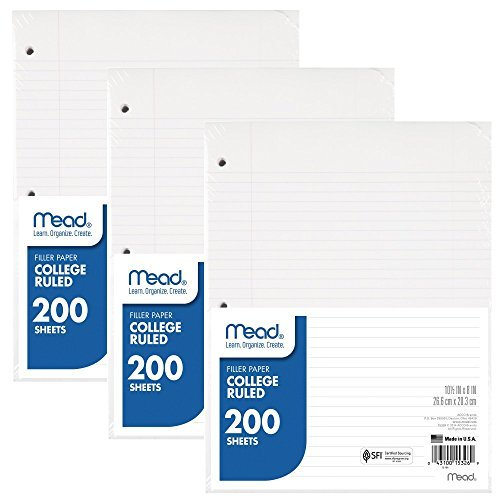 "Mead Loose Leaf Paper, College Ruled, 200 Sheets, 10-1/2' x 8"", 3 Hole Punched for 3 Ring Binder, Writing & Office Paper, Perfect for College, K-12 or Homeschool, 3 Pack (73185)"