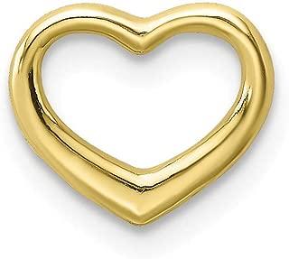 10K Yellow Gold Small Charm Pendant, Mini Floating Heart, High Polish