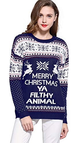 V28 Women's Christmas Reindeer Snowflakes Sweater Pullover (Tag S (US size 6), Blue-PairedRD)