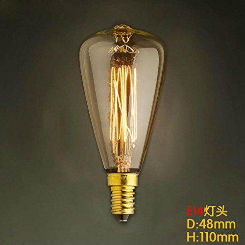 JAYLONG BombillaBombilla E14 ST48 25W Luz amarilla Edison
