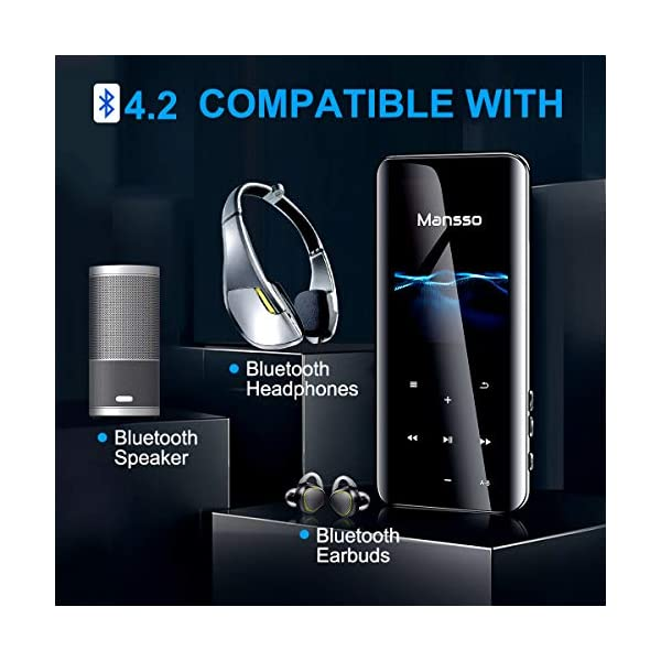 MP3 Players with Bluetooth 4.2, Portable HiFi Lossless Sound Music Player with 2.4'' Curved Screen, FM Radio Voice Recorder E Book, Expandable up to 128 GB (Black) 6