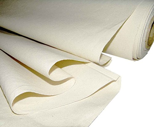 "Mybecca Unprimed Cotton Canvas Fabric 7 oz Natural Duck Cloth 58"" Wide, 5 Yards"