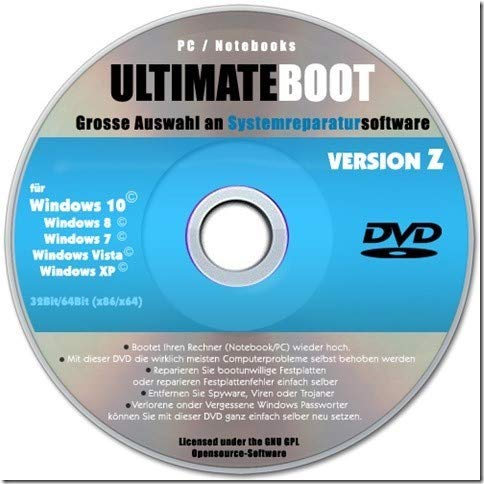 Ultimate Boot & Recovery CD, Windows 10, 8, 7, Vista, XP ✔2019