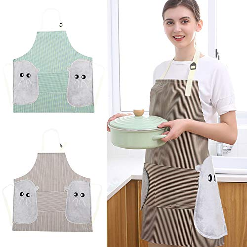 PrettyWit 2 PCS Cute Waterproof Apron Kitchen Chef Cooking Aprons for Grilling Baking BBQ Green amp Coffee