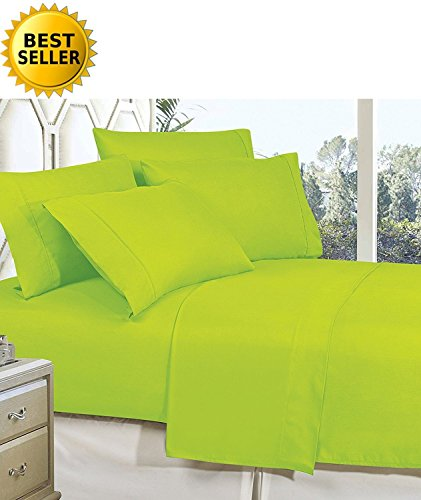 Mattrest Luxury Silky Soft - Wrinkle Resistant 1500 Thread Count Egyptian Quality Super Soft Fade Resistant 4-Piece Bed Sheet Set, Deep Pocket, Queen Lime