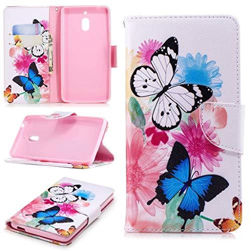 SATURCASE Nokia 2.1 Hülle, Schönes Muster PU Lederhülle Magnetverschluss Flip Brieftasche Handy Tasche Schutzhülle Handyhülle Hülle mit Standfunktion für Nokia 2 2018 / Nokia 2.1 (BO-9)