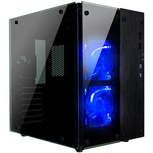 Rosewill Gaming ATX Mid Tower Cube Case, Tempered Glass Full Window Desktop PC Computer Small Form Case, Blue LED Lighting Fans, USB 3.0, 240mm Water Cooler Support, 3 Fans Pre-Installed