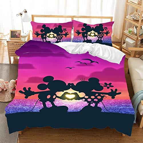MMYANG Mickey et Minnie de Disney Kiss Love Ropa de Cama Reversible,Día de San Valentín Amour SO IN Love Juego de Funda nórdica,Juego de Cama de 3 Piezas (4,220×240cm)