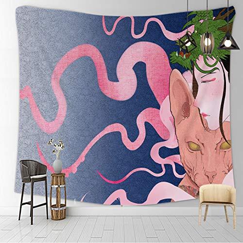 CNYG Manta psicodélica Kanagawa Wave Print Suspensión Manta Colgante de Pared Cama Bohemia Colgante de Pared Decoración del hogar Tapiz de Dormitorio AA 150x180CM