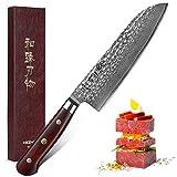 Alta calidad Santoku japonesa Damasco VG10 acero Herramientas de corte de la carne de afeitar de la lámina aguda mejor regalo del cuchillo del cocinero santoku cuchillo