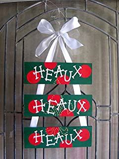 HEAUX HEAUX HEAUX Merry Christmas Wooden Door Decoration- Wreath- Green Red polka dots- Gold fleur de lis
