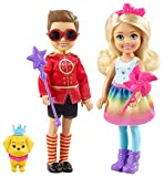 Barbie Dreamtopia Duo mini-poupées Chelsea et Notto en tenues de princesse et prince, avec figurine de chiot et sceptres, jouet pour enfant, FRB14