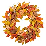 VGIA 18 Inch Fall Wreath Front Door WreathFall Decorations with Wood and Silk Autumn Leaves Harvest Festival Decorationsfor Home