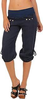 iYYVV Women Summer Elastic Waist Boho Check Pockets Pants Baggy Wide Leg Yoga Capris