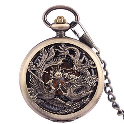 Xu Yuan Jia-Shop Reloj de Bolsillo Reloj de Bolsillo for Hombre Antiguo mecánico Lucky Dragon y Phoenix Retro del dial esquelético con Cadena Reloj de Bolsillo Vintage