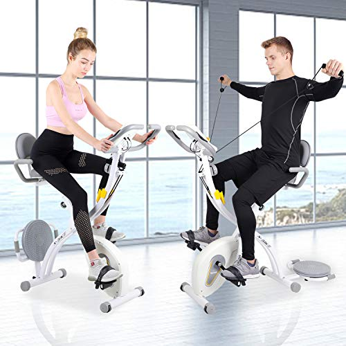 Exercise Bike, Folding Fitness Bike Spin Bike Indoor Cycle Bike with Resistance Bands & Twister Plate & Heart Monitor, Sporting Equipment for Cardio Trainer