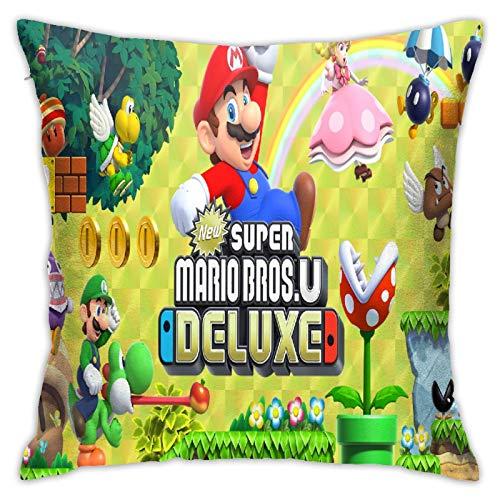 Fdfsiooi Super Mario Bros Fundas de Cojines Funda de Almohada Funda de Almohada Informal Cuadrada de Moda Funda de cojín con Cremallera Funda de cojín 18X18 Pulgadas (45 X 45cm) Pillow Covers
