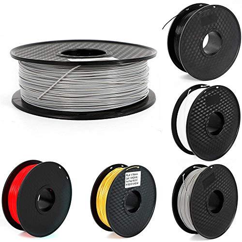 Relaxbx 3D Printer Filament PLA - 1.75mm -2.2 LBS (1KG) Spool 3D Filament - 5 Kleuren 3D Printing filament Lage Geur Dimensionale Nauwkeurigheid +/- 0.03 mm (Zwart)