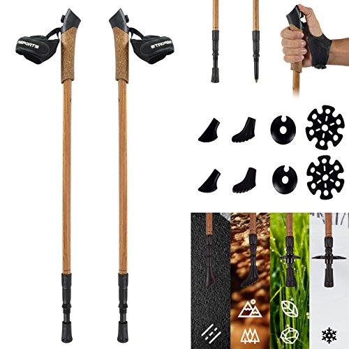 MSPORTS Nordic Walking Stöcke Premium - hochwertiges Holzdesign - Superleicht - auswählbar mit Tragetasche - Walking Sticks … (Nordic Walking Stöcke)