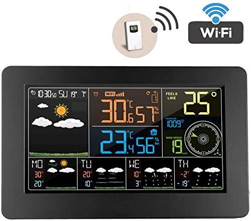 YAYY Wifi Weer Stations met Outdoor Sensor Draadloze Anemometer Barometer Temperaturer Hygrometer 6 Soorten Weer Voorspelling Klok Alarm 12 Maan Fase Digitale Weergave (Upgrade)