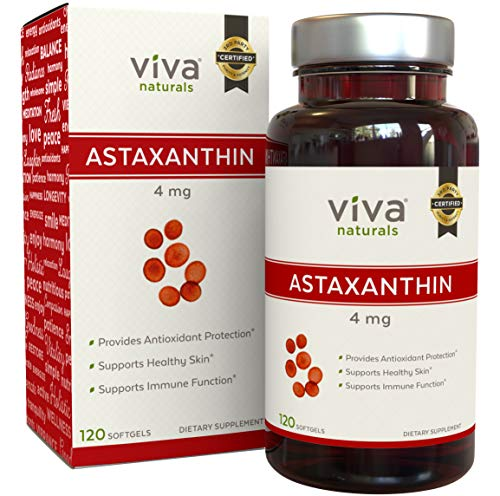 Astaxanthin 4mg - Daily Antioxidant Protection, Maintains Skin Hydration & Firmness, Supports Heart & Immune Function, 60 softgels