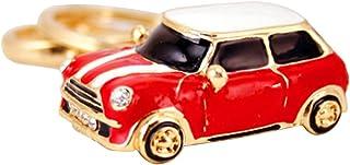Vorcool Schlüsselanhänger aus Glas, Modell Mini Cooper, Schlüsselanhänger aus Metall, Taschenanhänger Damen, Rot