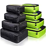 8 Set Packing Cubes, Travel Luggage Bags Organizers Mixed Color Set (Green Black)