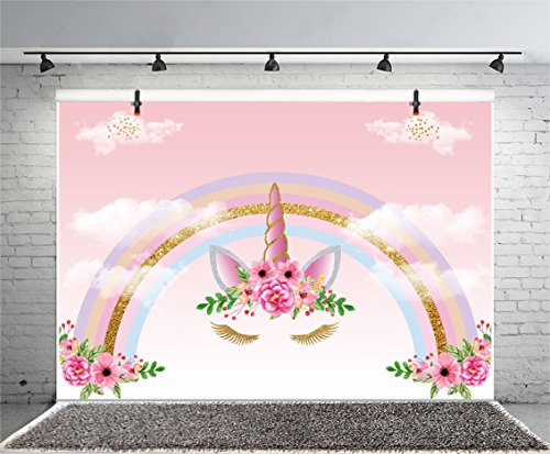 Yeele 5x3ft Happy Birthday Backdrop Vinyl Cute Unicorn Rainbow Celebrate Baby Shower Party Photography Background Kid Infant Newborn Child Girl Artistic Portrait Photo Booth Shoot Props